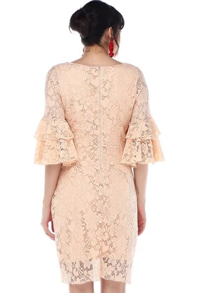 Sense 31293 Güpür Kolları Volanlı Elbise