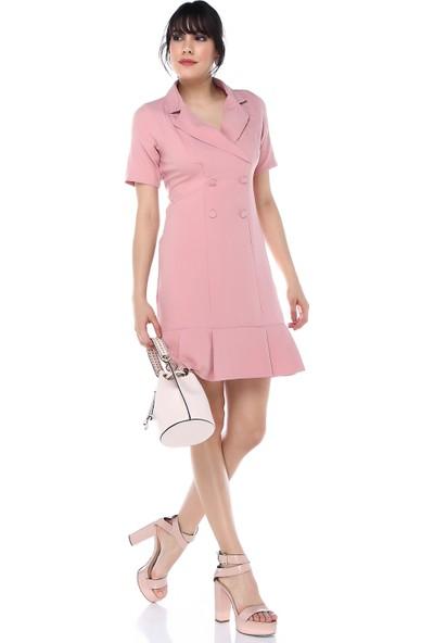 Sense 31489 Ön Baskı Düğmeli Krep Elbise