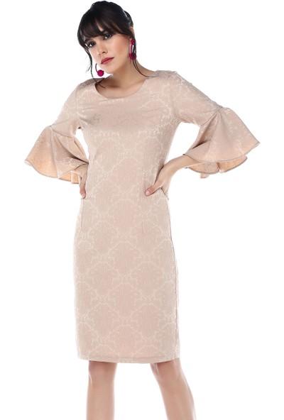 Sense 31728 Kolları Volanlı Jakarlı Elbise