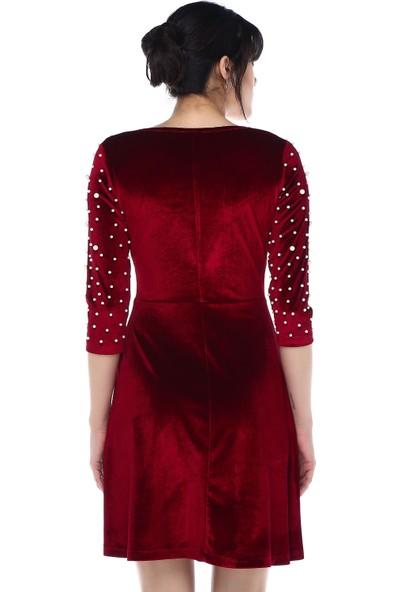 Sense 31785Ön Parcalı Biye Yaka Uzun Kol Kadife Elbise