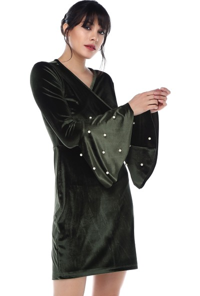 Sense 31867 Kruvaze Kollar Volanlı Kadife Elbise