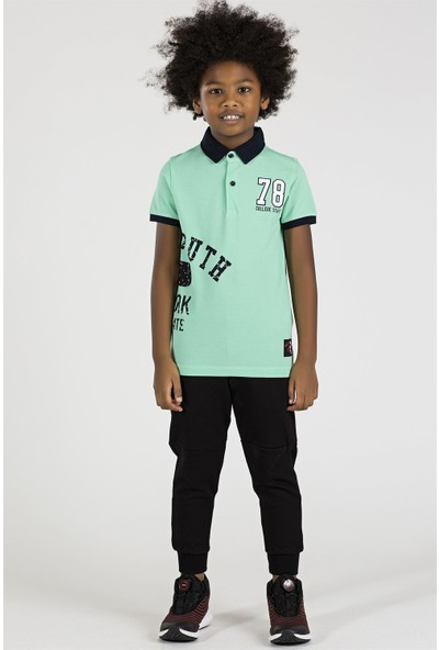 Tommy Life Yazılı Mint Yeşili Çocuk Polo Yaka Tshirt