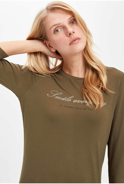 Defacto Kadın Slogan Baskılı 3/4 Kollu T-Shirt