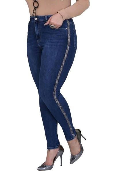 Gül Moda Kadın Büyük Beden Yanları Leopar Şeritli Kot Pantolon Mavi
