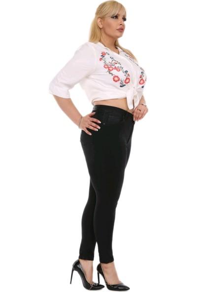 Gül Moda Kadın Büyük Beden Dar Paça Kot Pantolon Siyah