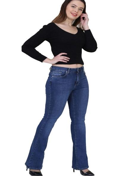 Gül Moda Kadın Büyük Beden İspanyol Paça Kot Pantolon Mavi