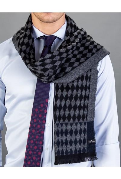 Tudors Desenli Siyah Polyester Erkek Atkı