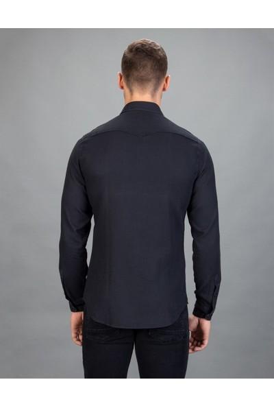 Tudors Slim Fit Denim Lacivert Erkek Gömlek