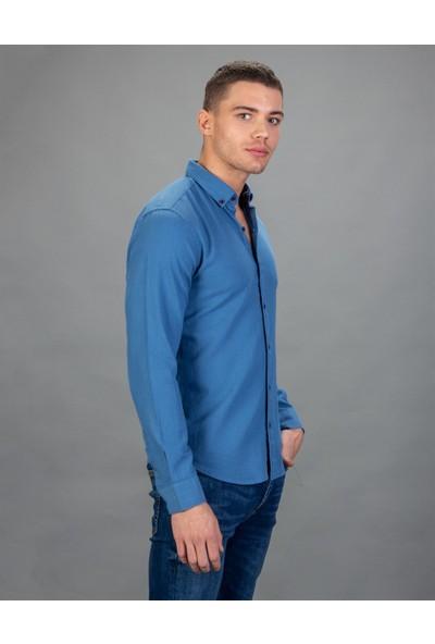 Tudors Slim Fit Denim Mavi Erkek Gömlek