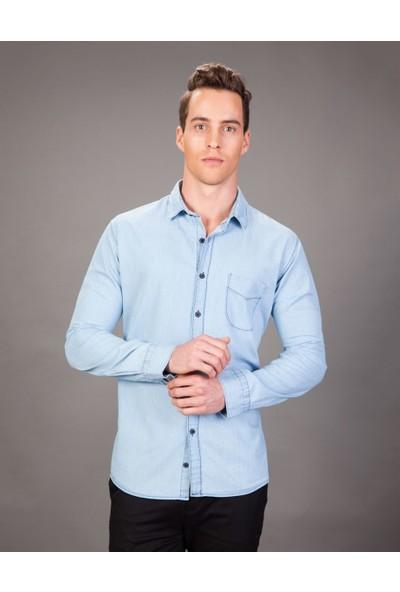 Tudors Klasik Fit Mavi Denim Erkek Gömlek