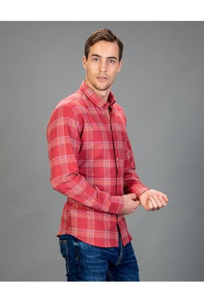 Tudors Klasik Fit Kırmızı Kareli Kışlık Erkek Gömlek