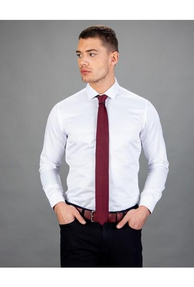 Tudors Slim Fit Düz Beyaz Erkek Gömlek