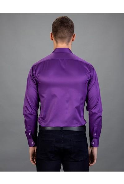 Tudors Slim Fit Düz Mor Erkek Gömlek