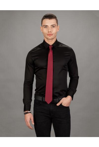 Tudors Süper Slim Fit Likralı Saten, Düz Siyah Erkek Gömlek