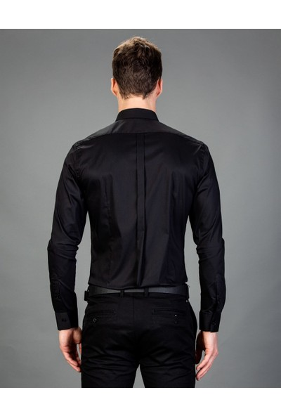 Tudors Süper Slim Fit Siyah Erkek Gömlek