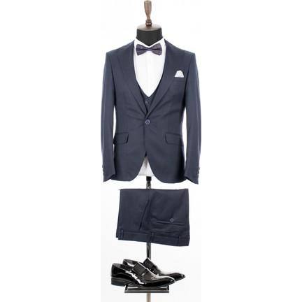 61457b9ed4b82 Deepsea Lacivert Kare Desenli İtalyan Kesim Yelekli Erkek Takım Elbise  18000140