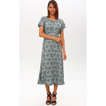 d504d6747e33c New Laviva Mint Kadın Kısa Kollu V Yaka Desenli Uzun Elbise Fiyatı