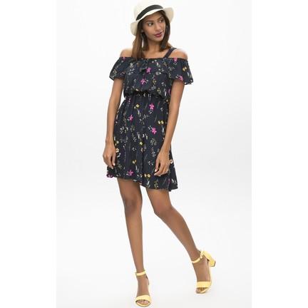 354cd2e103940 New Laviva Lacivert Kadın Çiçekli Mini Elbise Fiyatı