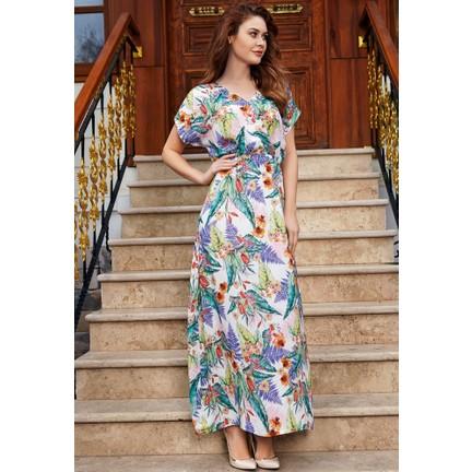 fdfdbc6e19cd9 Anıl Kadın Çiçekli Uzun Elbise An5477 Fiyatı - Taksit Seçenekleri