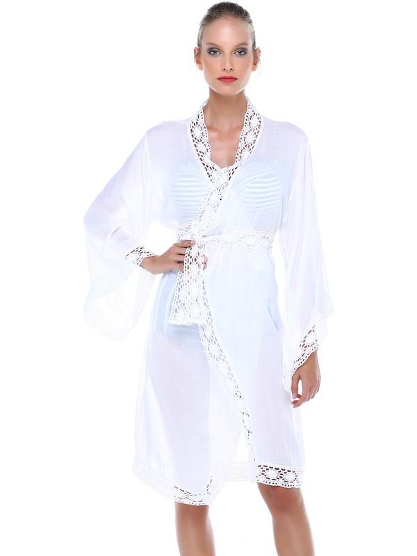 Qattan Kruvaze Beyaz Pareo Elbise