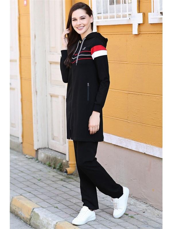 Tommy Life Siyah Kadın Kapüşonlu Çizgi Şeritli Rahat Form Klasik Paça Eşofman Tunik Takım-95175