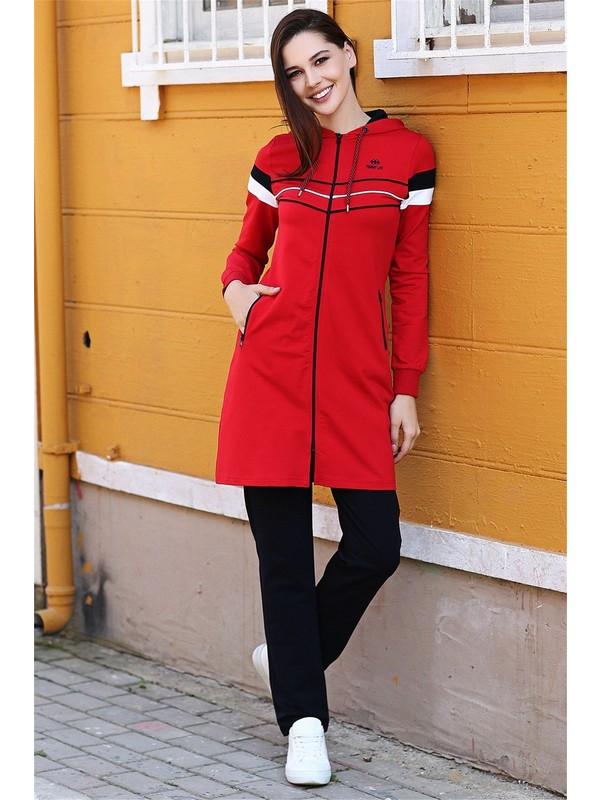 Tommy Life Kırmızı-Lacivert Kadın Kapüşonlu Çizgi Şeritli Rahat Form Klasik Paça Eşofman Tunik Takım-95175