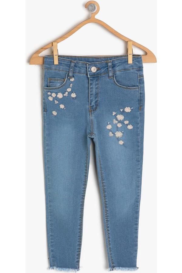 Embroidered Cotton Girl's Jeans