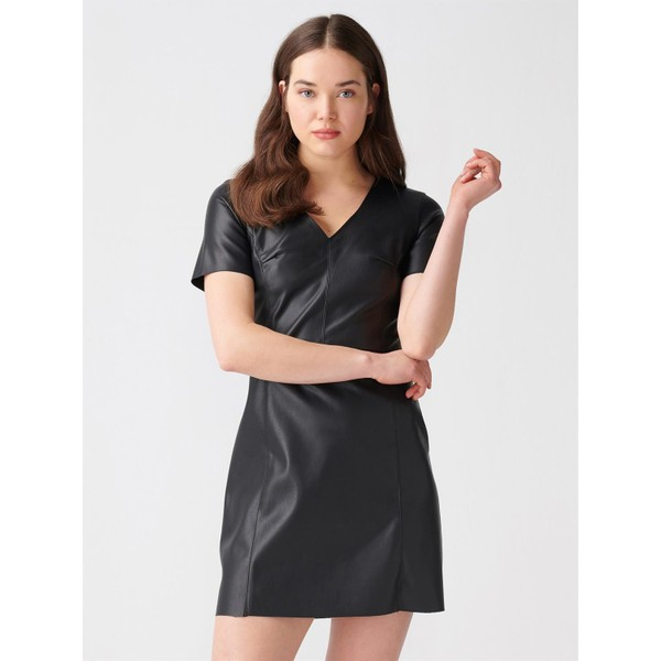 27d6f76554a93 Dilvin 9776 V Yaka Deri Elbise Siyah - 36 Fiyatları, Özellikleri ve ...
