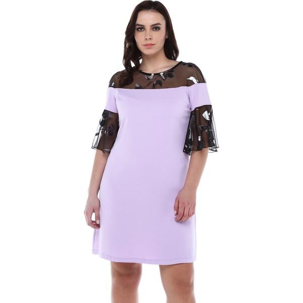 1270cac52e1df B&S Line Kolu Desen Tüllü Lila Elbise - 42 Fiyatları, Özellikleri ve ...