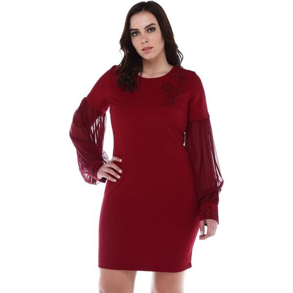 39b01370d67da B&S Line Manşeti Ve Yakası Taşlı Kolları Şifon Bordo Elbise - 42 Ürün Resmi