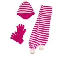 I Cool Ponpon Takim-G Fuşya Ekru Kız Çocuk Atkı/Bere/Eldiven