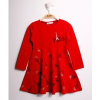 Toontoy Kız Çocuk Elbise Göğsü Paris Desenli