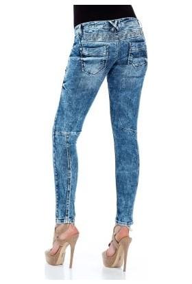Cipo&Baxx WD322 Parça Dikişli Detaylı Mavi Bayan Kot Pantolon