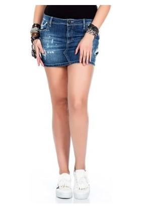 Cipo&Baxx WY118 Yırtık Yamalı Kot Koyu Renk Süper Mini Etek
