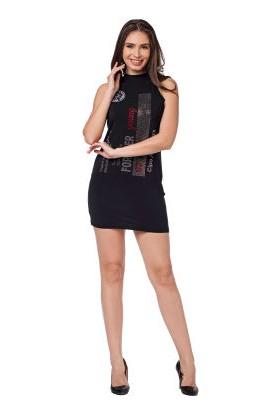 Cipo&Baxx WY114 Siyah Slim Fit Mini Etek Kolsuz Elbise