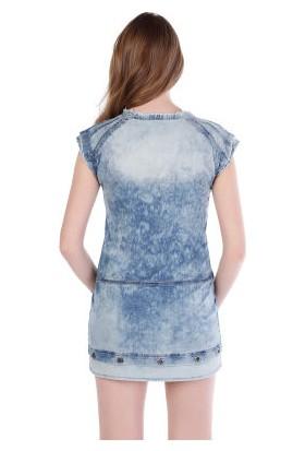 Cipo&Baxx WY108 Delikli Metal Detaylı Kot Mini Elbise