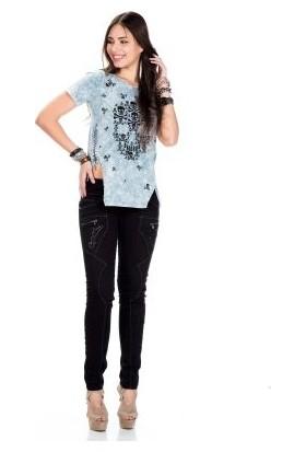 Cipo&Baxx WT194 Kurukafa Desenli Yırtmaçlı Gotik Bayan Tişört