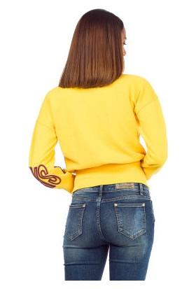 Cipo&Baxx WL194 Always More Nakışlı Sarı Bayan Sweatshirt