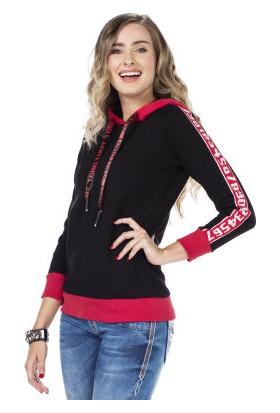 Cipo&Baxx WL192 Baskılı Kapşonlu Düz Siyah Sweatshirt