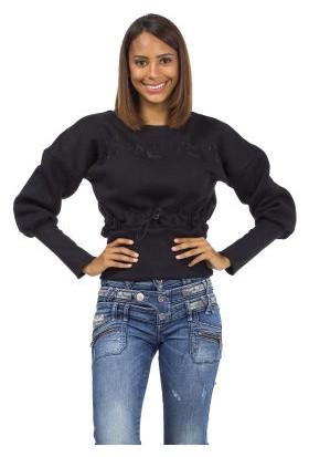 Cipo&Baxx WL186 Balon Kol Taş İşlemeli Siyah Bayan Sweatshirt