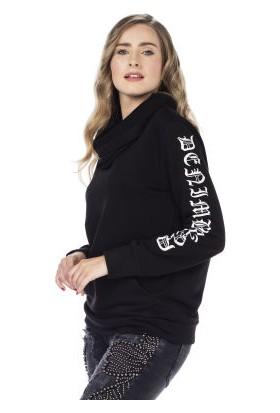 Cipo&Baxx WL184 Şal Yakalı Düz Sade Siyah Bayan Sweatshirt