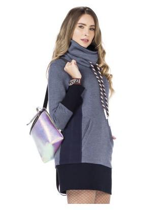 Cipo&Baxx WL179 Uzun Yaka Cepli Mavi Bayan Sweatshirt Elbise