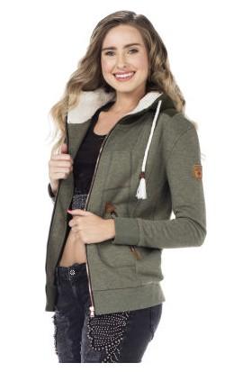 Cipo&Baxx WL178 Kürk Yaka Kapşonlu Yeşil Bayan Sweatshirt