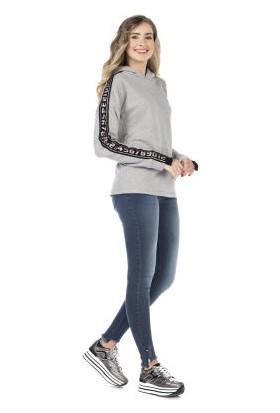Cipo&Baxx WL175 Sayılar Şeritli Kapşonlu Düz Gri Bayan Sweatshirt