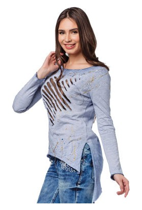 Cipo&Baxx WL174 Yırtıklı Asimetrik Mavi İnce Bayan Sweatshirt