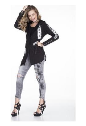 Cipo&Baxx WL166 Siyah Kapşonlu Baskılı Uzun Bayan İnce Ceket
