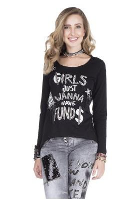 Cipo&Baxx WL165 Kızlar Ne İster Baskılı Bayan Siyah Sweatshirt