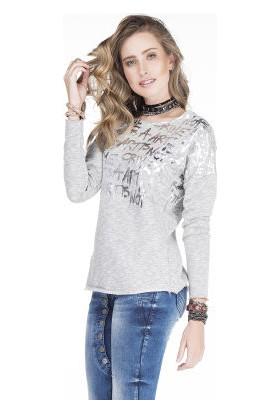Cipo&Baxx WL146 Art Isn't Crime Gümüş Yazılı Bayan Sweatshirt