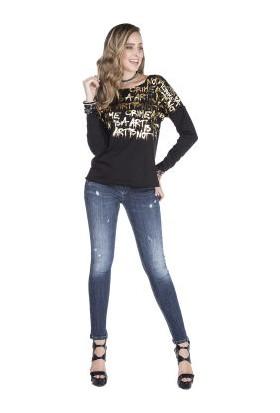 Cipo&Baxx WL146 Peace Altın Baskılı Yazılı Siyah Bayan Sweatshirt