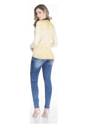 Cipo&Baxx WL141 Önü İşlemeli Civciv Sarısı Bayan Sweatshirt